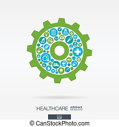 flat icons in a cogwheel shape, medical, health, healthcare...