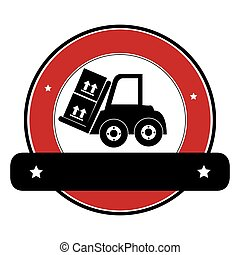 color circular emblem with banner and forklift truck with forks and boxes