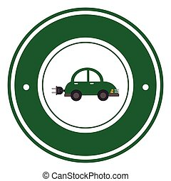 color circular emblem with electric eco car