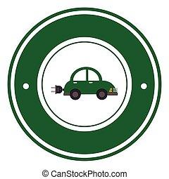 color circular emblem with electric eco car