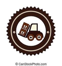 color circular emblem with forklift truck with forks and boxes