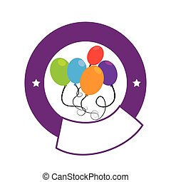 color circular emblem with party balloons
