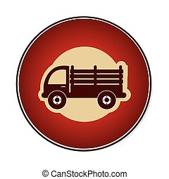 color circular emblem with stakes truck vector illustration
