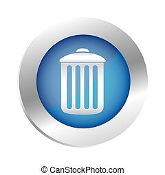 color circular emblem with trash container icon