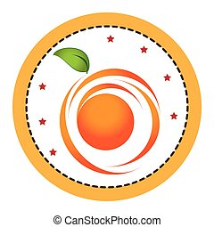 color circular frame with abstract orange fruit