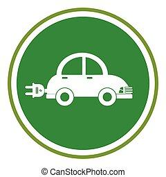 color circular frame with electric eco car