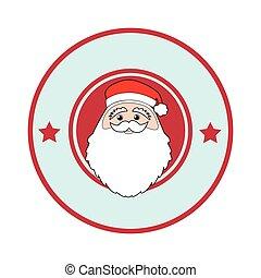 color circular frame with face of santa claus