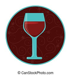 color circular frame with glass of wine