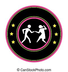 color circular frame with pictogram of couple dancing