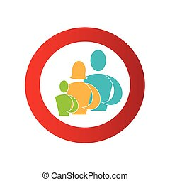 color circular frame with pictogram of family