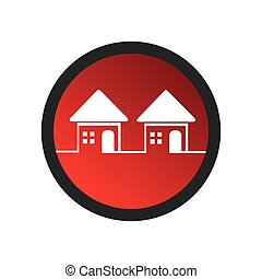 color circular frame with set of houses