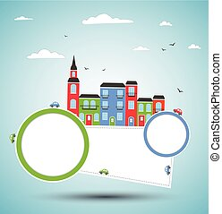 Color city background. Vector