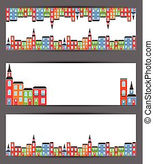 Color city banners. Vector