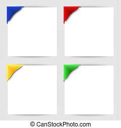 Color clip corner on white paper