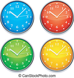 Color clock. - Four clock with color clock faces.