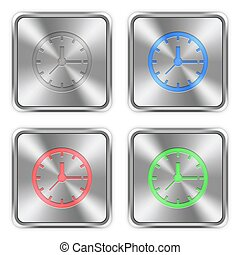 Color clock steel buttons