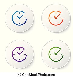 Color Clock with arrow icon isolated on white background. Time symbol. Clockwise rotation icon arrow and time. Set color icon in circle buttons. Vector Illustration
