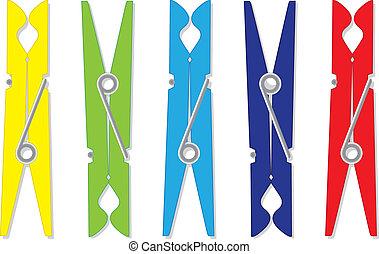 Color clothes plastic peg - illustration