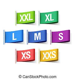 Color clothing size labels illustration