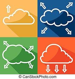 Color cloud with arrow icon vector eps 10