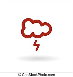 Color cloud with lightning vector line icon on white background