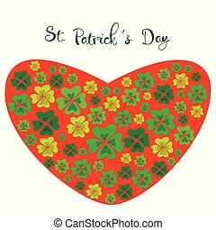 Color clover in the shape of a heart, on St. Patrick s Day.