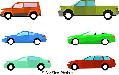 color, coches, blanco, conjunto, aislado
