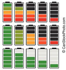 Color coded battery level indicator. Battery running low /...