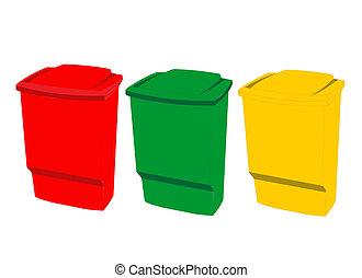 Color coded trash bin - illustration of plastic recycle bin