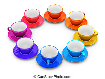 Color coffee cups arranged in circle - Circle from color...