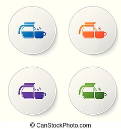 Color Coffee pot with cup icon isolated on white background. Set color icon in circle buttons. Vector Illustration