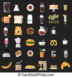 coffee shop icons.