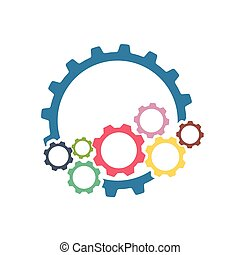 Color cogs gears on light background