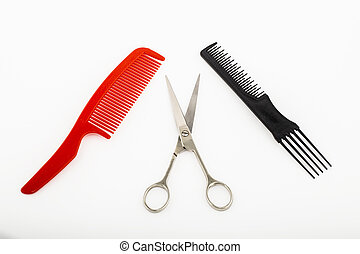 color combs and scissors