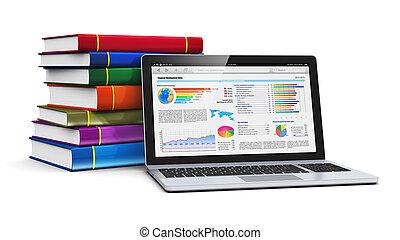 color, computador portatil, libros, pila