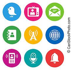 color, comunicación, iconos