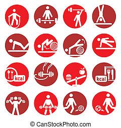 color, condición física, y, deporte, iconos