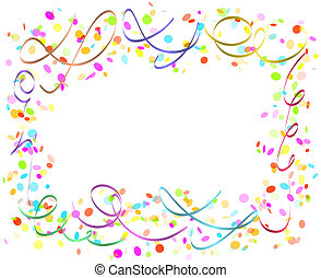 confetti and ribbons - color confetti and ribbons on white...
