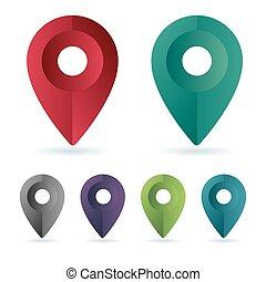 color, conjunto, alfiler, ubicación, maping