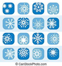 color, conjunto, copo de nieve, icono