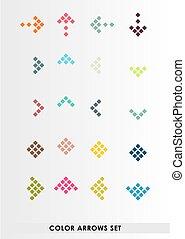 color, conjunto, flechas, vector