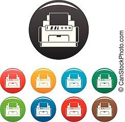color, conjunto, impresora láser, iconos