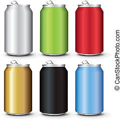 color, conjunto, latas, aluminio, plantilla
