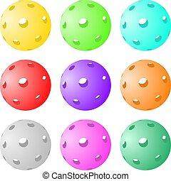 color, conjunto, pelotas, pickleball