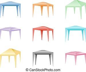 color, conjunto, plegadizo, vector, tiendas