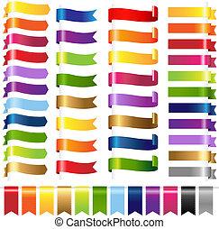 color, conjunto, tela, cintas