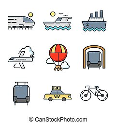 color, conjunto, transporte, icono