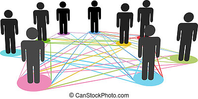 Color connections network social business people