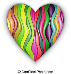 color, corazón, hecho, rayas, vector