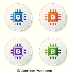 Color CPU mining farm icon isolated on white background. Bitcoin sign inside microchip. Cryptocurrency mining community. Digital money. Set icons in circle buttons. Vector Illustration